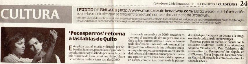 El Comercio, 25 de febrero 2010.