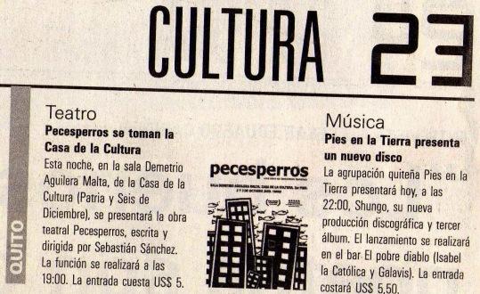 El Telégrafo, 2 de octubre 2009.